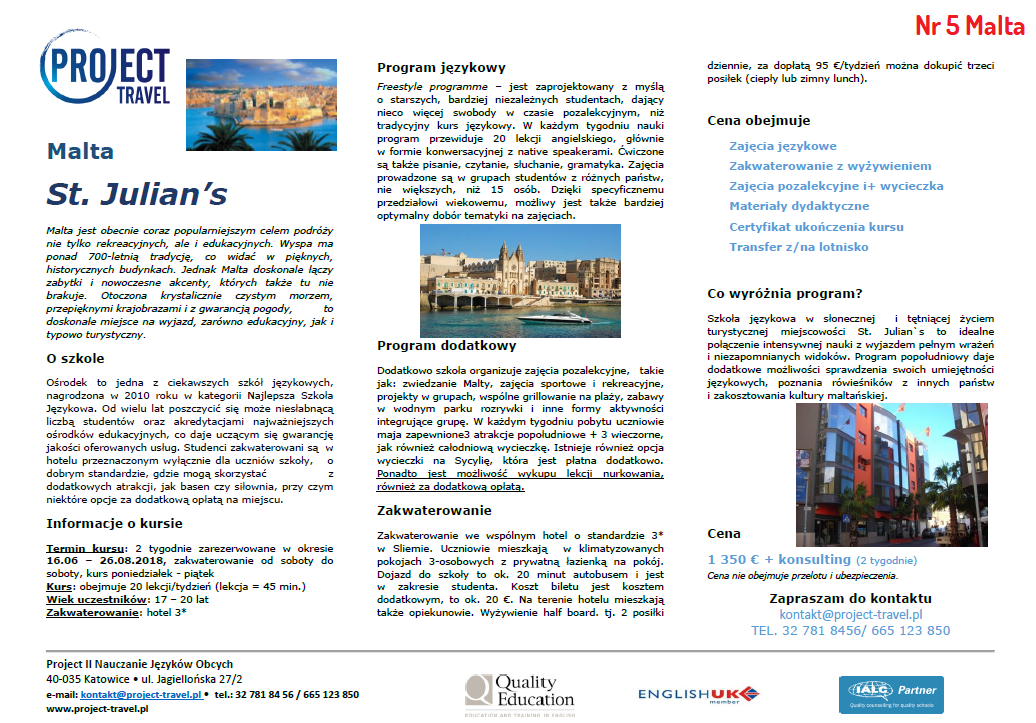 Wyjazdy językowe Malta Katowice